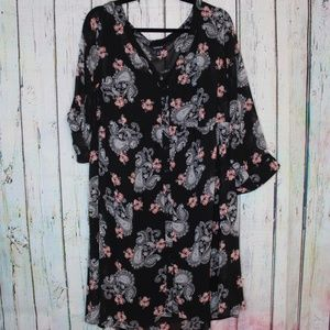 NWOT Torrid Black Button Floral Paisley Dress